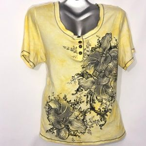 Dress Barn lg flower w/ sparkles scoop neck 2X